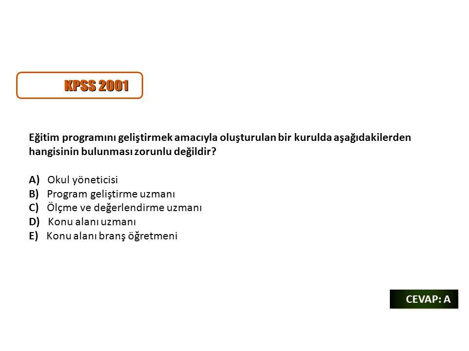 CEVAP: A CEVAP: A Eğitim programını geliştirmek amacıyla oluşturulan bir kurulda aşağıdakilerden hangisinin bulunması zorunlu değildir.