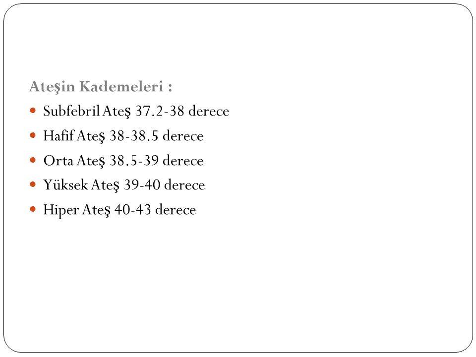 Ate ş in Kademeleri : Subfebril Ate ş 37.2-38 derece Hafif Ate ş 38-38.5 derece Orta Ate ş 38.5-39 derece Yüksek Ate ş 39-40 derece Hiper Ate ş 40-43 derece