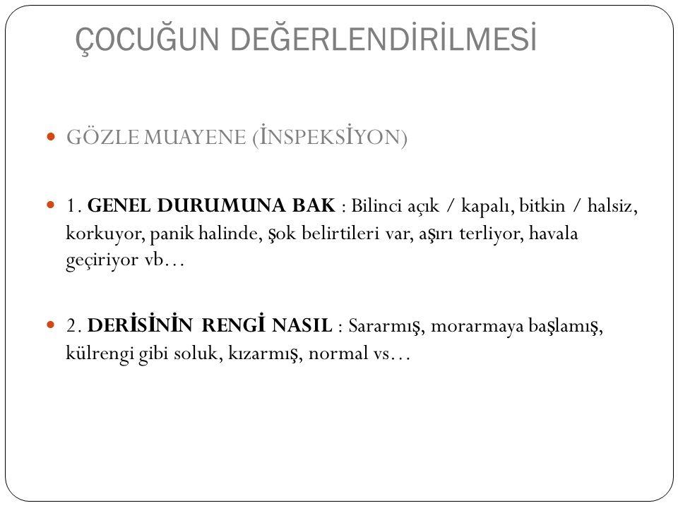 ÇOCUĞUN DEĞERLENDİRİLMESİ GÖZLE MUAYENE ( İ NSPEKS İ YON) 1.