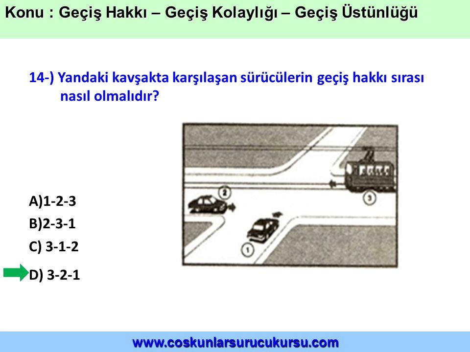 14-) Yandaki kavşakta karşılaşan sürücülerin geçiş hakkı sırası nasıl olmalıdır.