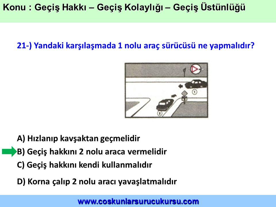 21-) Yandaki karşılaşmada 1 nolu araç sürücüsü ne yapmalıdır.
