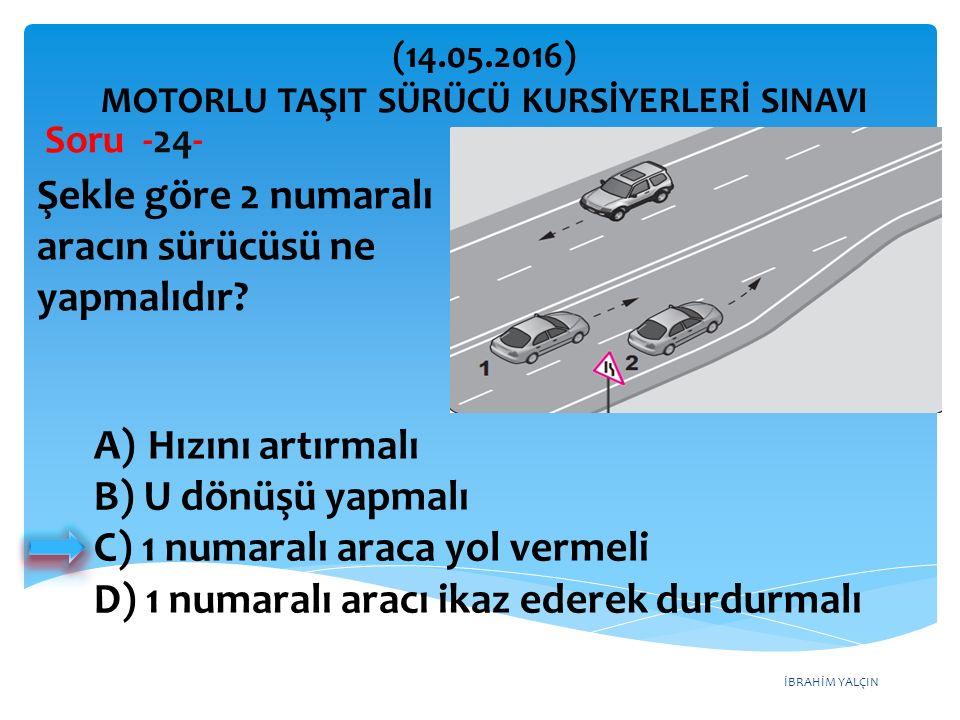 İBRAHİM YALÇIN A)Hızını artırmalı B) U dönüşü yapmalı C) 1 numaralı araca yol vermeli D) 1 numaralı aracı ikaz ederek durdurmalı (14.05.2016) MOTORLU TAŞIT SÜRÜCÜ KURSİYERLERİ SINAVI Soru -24- Şekle göre 2 numaralı aracın sürücüsü ne yapmalıdır?