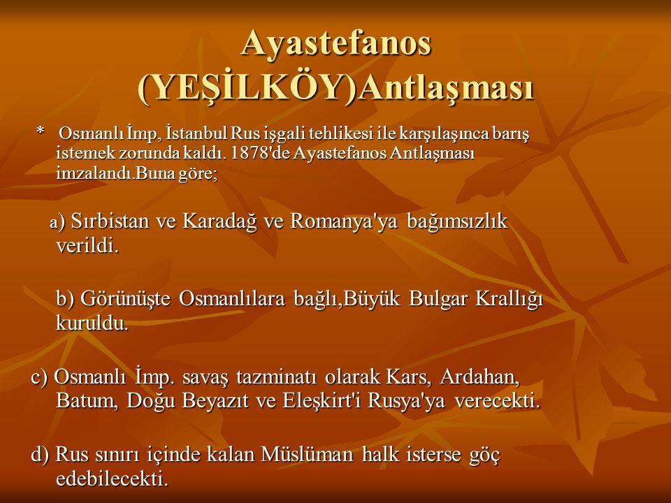 * Rusya,İstanbul ve Londra Konferanslarında alınan kararlar Osmanlı İmp.tarafından kabul edilmezse Osmanlı İmp'na savaş açacağını ilan etti. * Osmanlı