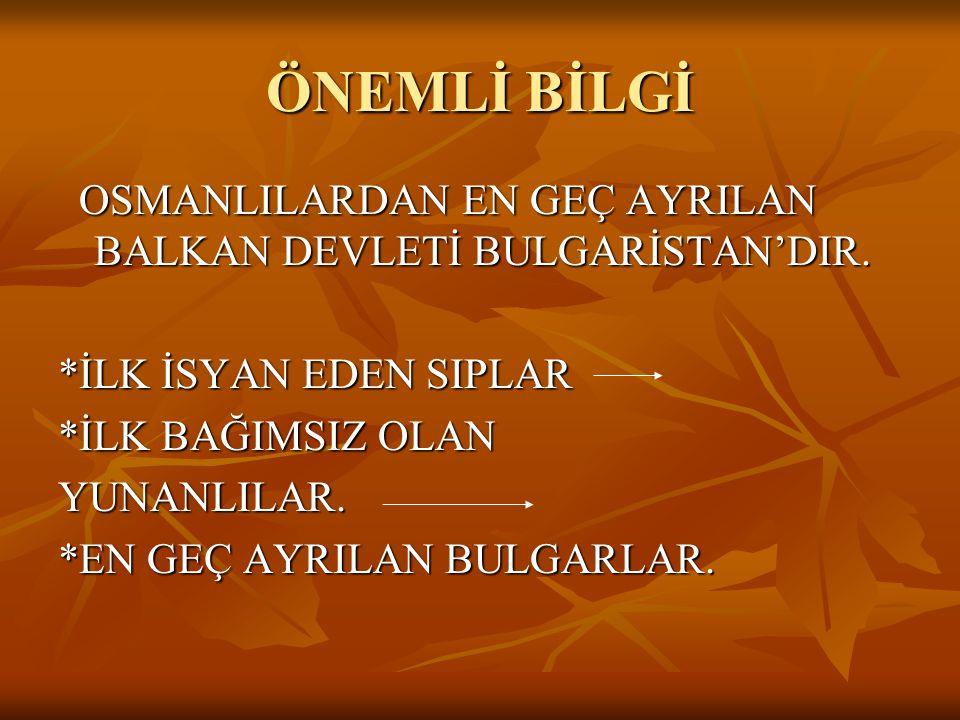 Ayastefanos (YEŞİLKÖY)Antlaşması * Osmanlı İmp, İstanbul Rus işgali tehlikesi ile karşılaşınca barış istemek zorunda kaldı. 1878'de Ayastefanos Antlaş