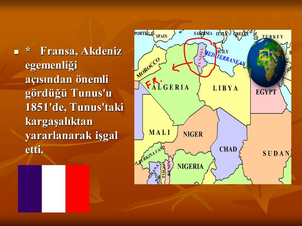 KIBRIS,TUNUS VE MISIR'IN İŞGALİ : * İngiltere, Rusya'nın Osmanlı İmp'na karşı herhangi bir saldırısına karşı gerçekte Doğu Akdeniz'de egemenlik kurmak
