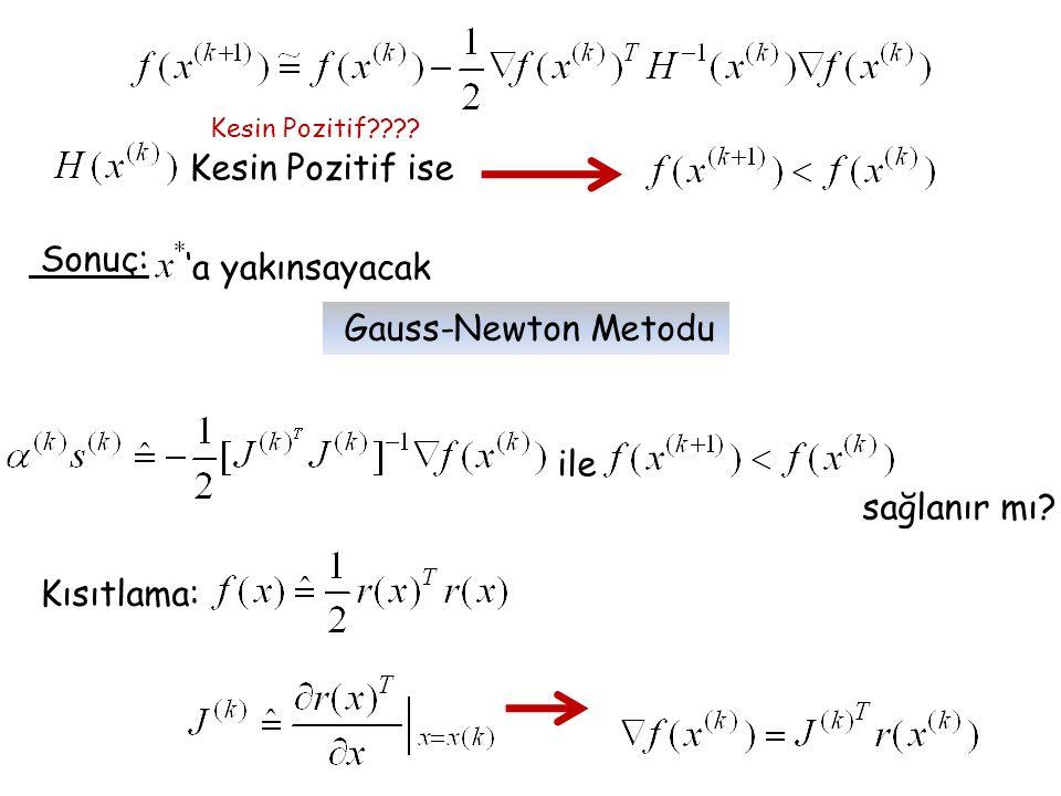 Kesin Pozitif ise Kesin Pozitif???? Sonuç: 'a yakınsayacak ile sağlanır mı? Kısıtlama: Gauss-Newton Metodu