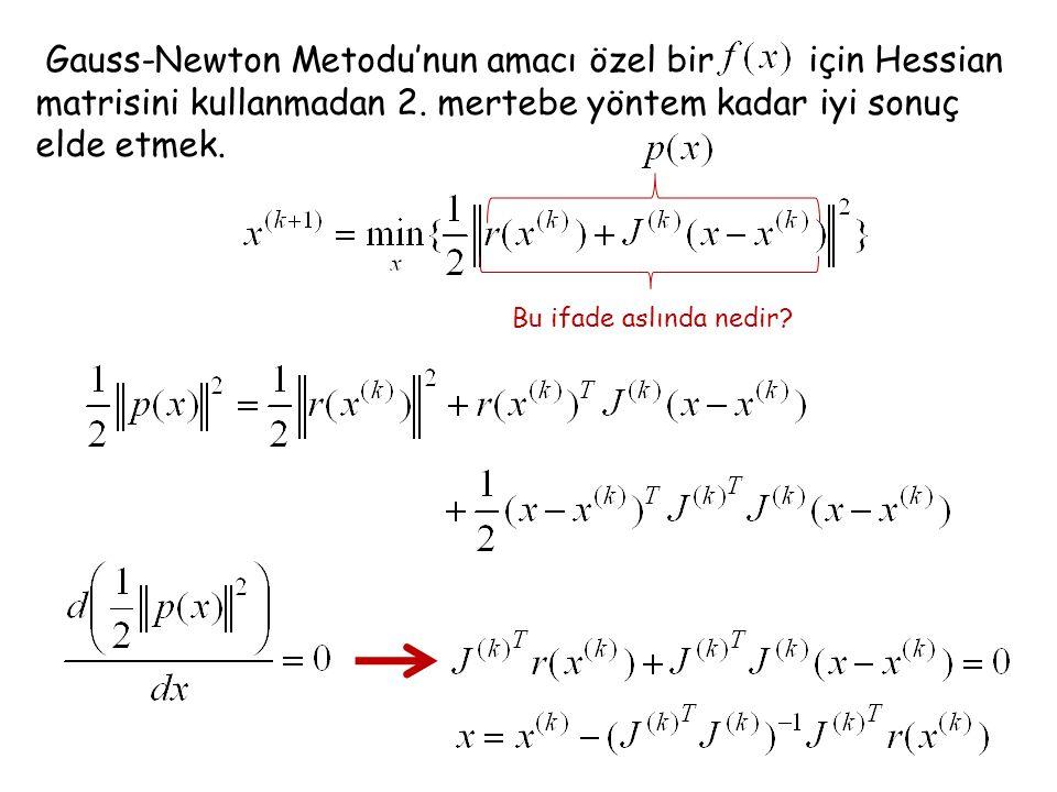 Gauss-Newton Metodu'nun amacı özel bir için Hessian matrisini kullanmadan 2. mertebe yöntem kadar iyi sonuç elde etmek. Bu ifade aslında nedir?