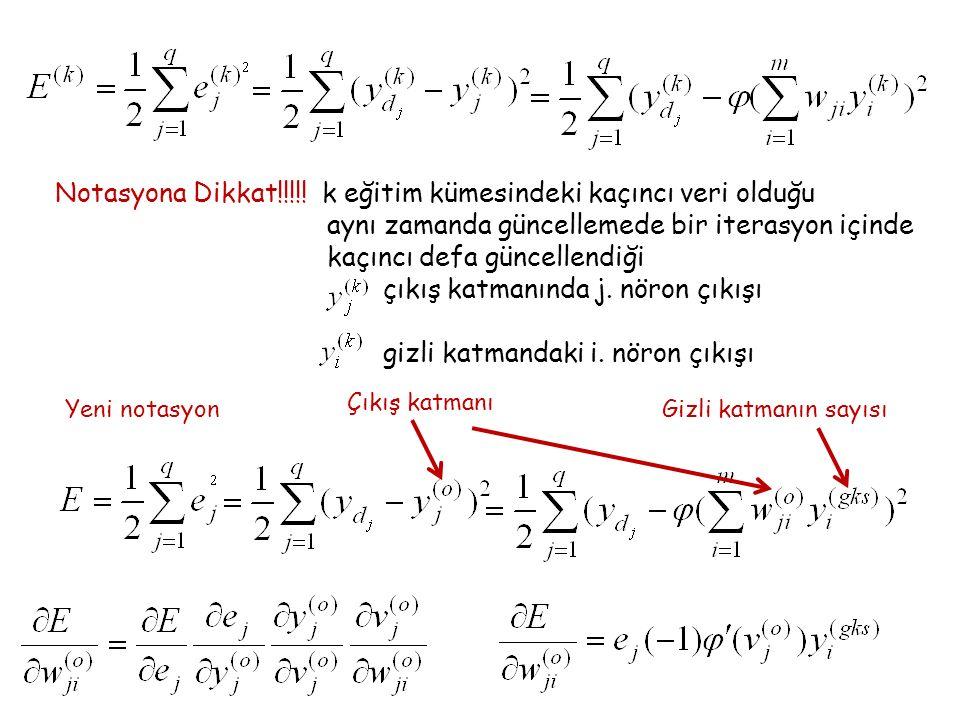 Notasyona Dikkat!!!!! k eğitim kümesindeki kaçıncı veri olduğu aynı zamanda güncellemede bir iterasyon içinde kaçıncı defa güncellendiği çıkış katmanı