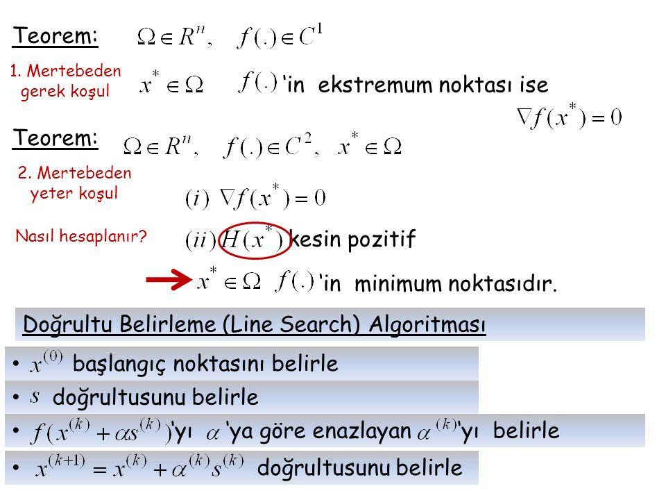 Teorem: 1. Mertebeden gerek koşul 'in ekstremum noktası ise Teorem: 2. Mertebeden yeter koşul kesin pozitif 'in minimum noktasıdır. Nasıl hesaplanır?
