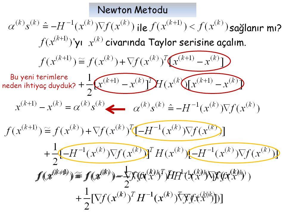 ile sağlanır mı? 'yı civarında Taylor serisine açalım. Bu yeni terimlere neden ihtiyaç duyduk? Newton Metodu
