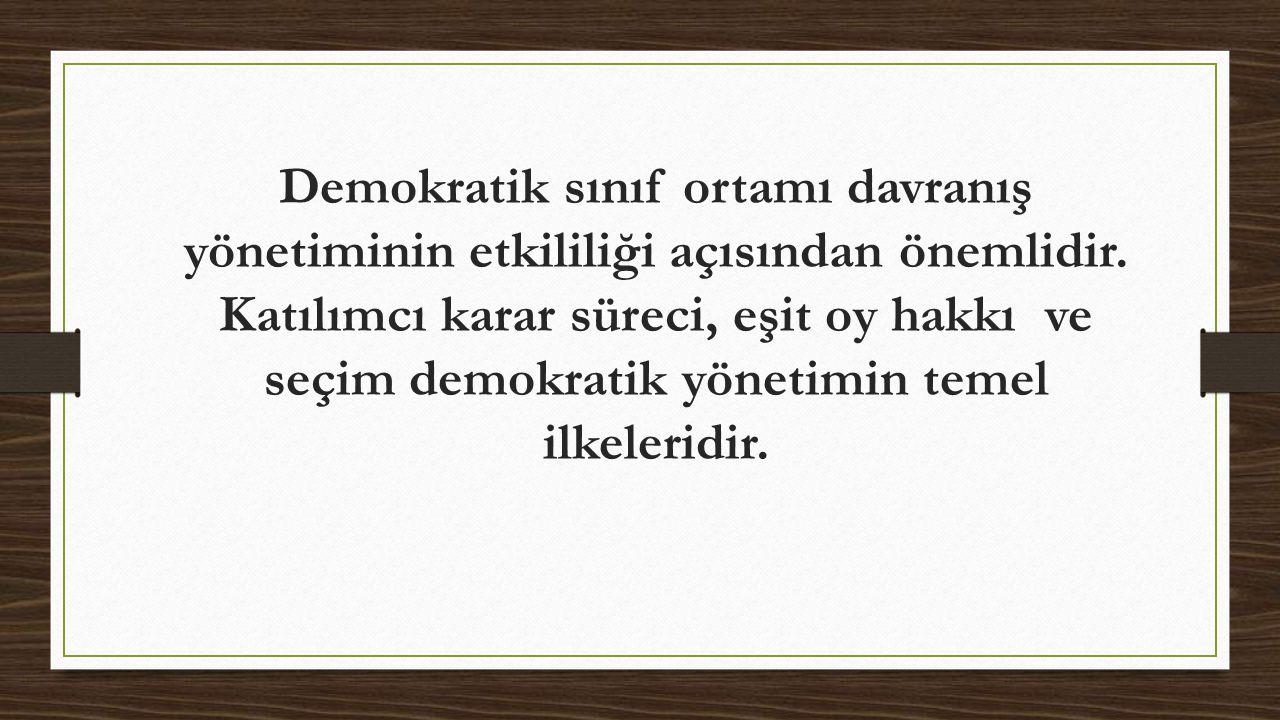 Demokratik sınıf ortamı davranış yönetiminin etkililiği açısından önemlidir. Katılımcı karar süreci, eşit oy hakkı ve seçim demokratik yönetimin temel