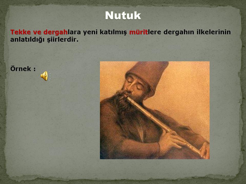 Tekke ve dergahmürit Tekke ve dergahlara yeni katılmış müritlere dergahın ilkelerinin anlatıldığı şiirlerdir.
