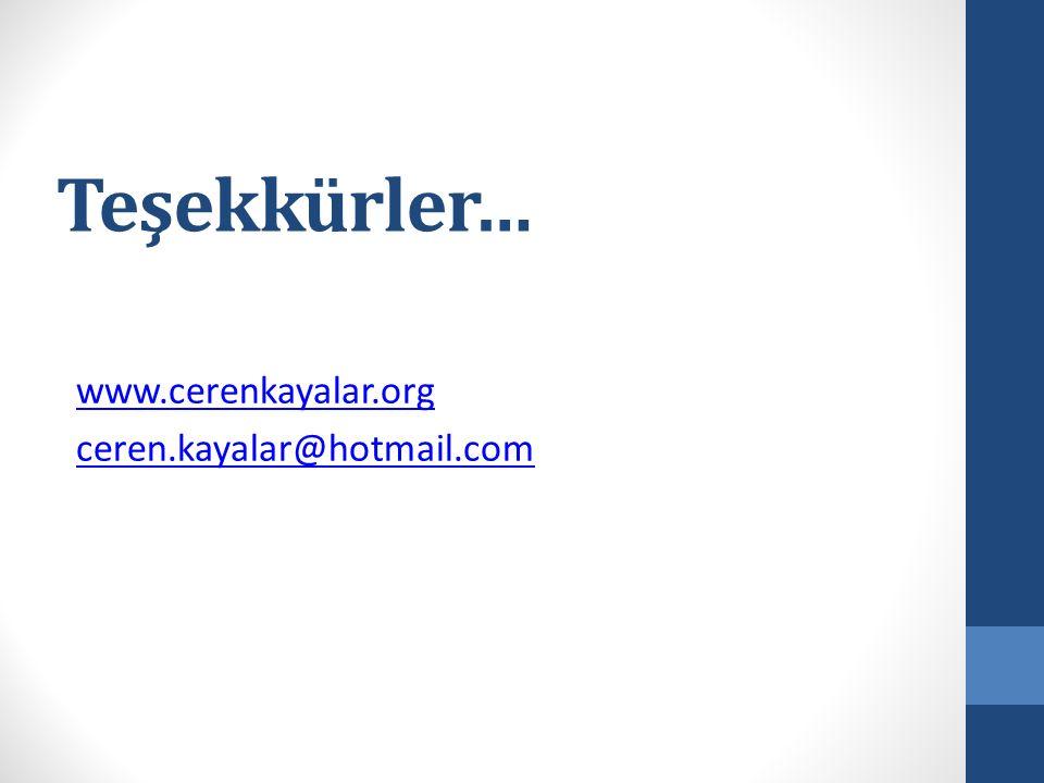 Teşekkürler… www.cerenkayalar.org ceren.kayalar@hotmail.com