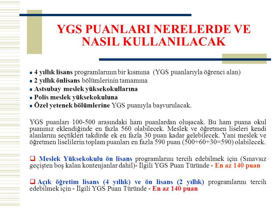 YGS PUANLARI NERELERDE VE NASIL KULLANILACAK 4 yıllık lisans programlarının bir kısmına (YGS puanlarıyla öğrenci alan) 2 yıllık önlisans bölümlerinin