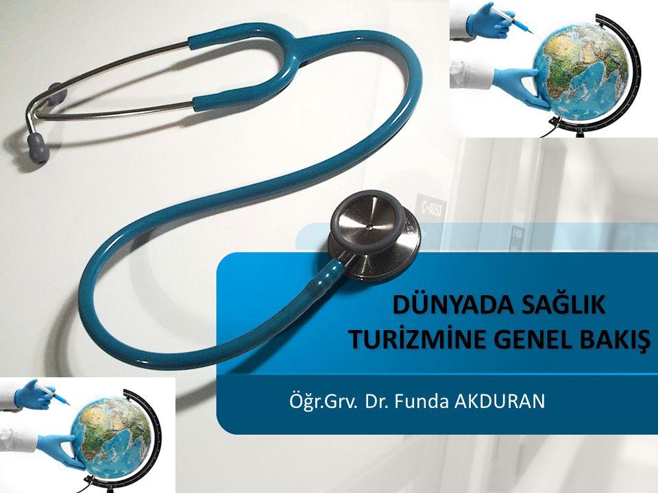 DÜNYADA SAĞLIK TURİZMİNE GENEL BAKIŞ Öğr.Grv. Dr. Funda AKDURAN