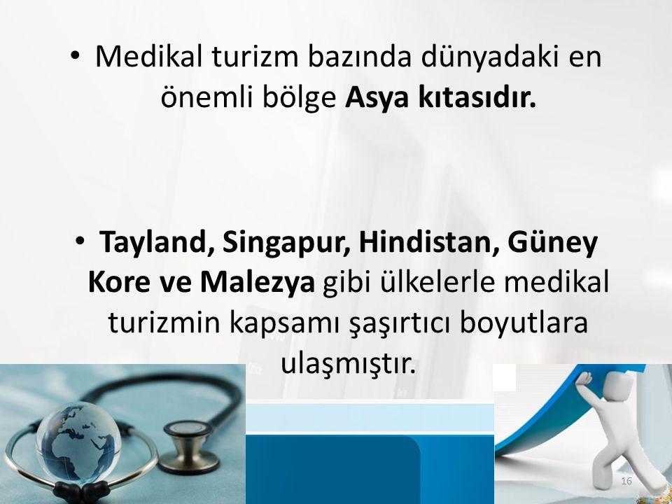Medikal turizm bazında dünyadaki en önemli bölge Asya kıtasıdır.