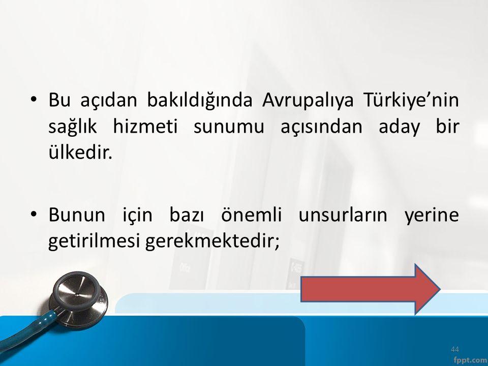 Bu açıdan bakıldığında Avrupalıya Türkiye'nin sağlık hizmeti sunumu açısından aday bir ülkedir.