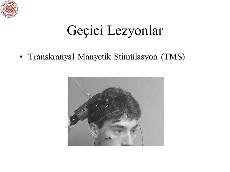 Transkranyal Manyetik Stimülasyon (TMS) Nöronal aktivitede kısa bir süreyle lezyon benzeri bir kesinti yaratmak üzere bir manyetik darbe gönderir. Sın