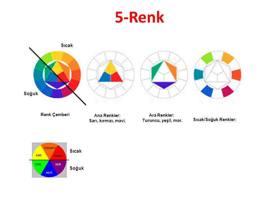 5-Renk Renk Çemberi Ana Renkler: Sarı, kırmızı, mavi.