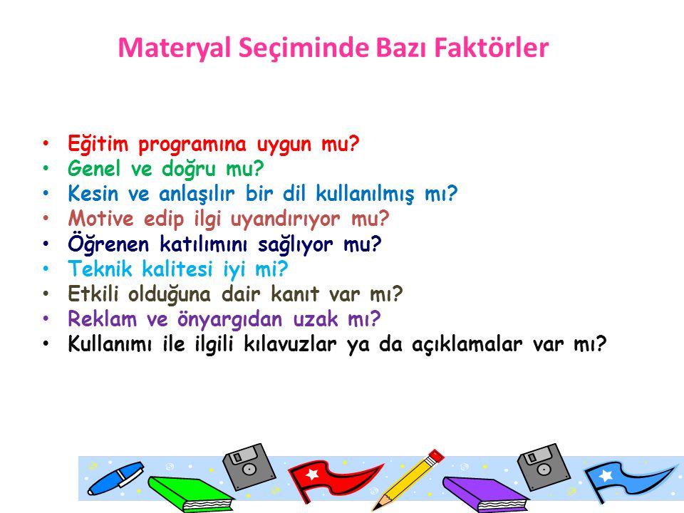 Materyal Seçiminde Bazı Faktörler Eğitim programına uygun mu.