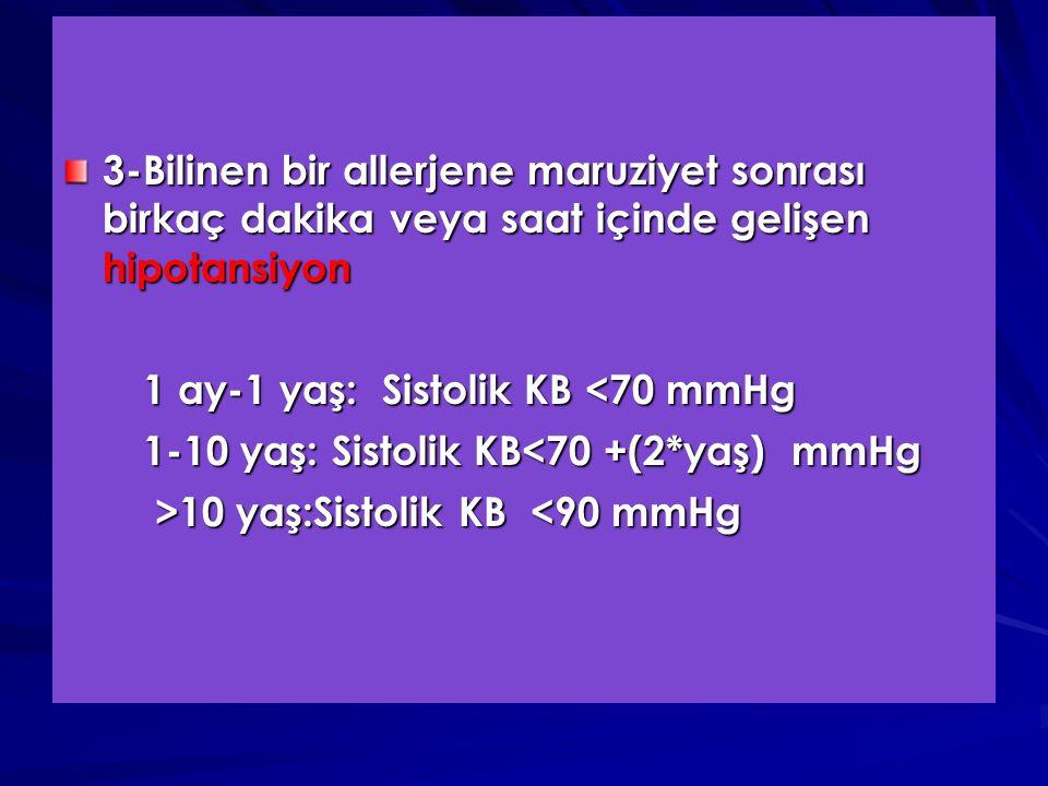 3-Bilinen bir allerjene maruziyet sonrası birkaç dakika veya saat içinde gelişen hipotansiyon 1 ay-1 yaş: Sistolik KB <70 mmHg 1 ay-1 yaş: Sistolik KB <70 mmHg 1-10 yaş: Sistolik KB<70 +(2*yaş) mmHg 1-10 yaş: Sistolik KB<70 +(2*yaş) mmHg >10 yaş:Sistolik KB 10 yaş:Sistolik KB <90 mmHg