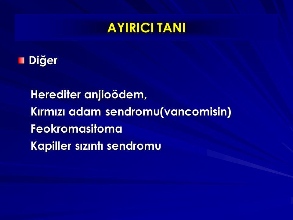 Diğer Herediter anjioödem, Herediter anjioödem, Kırmızı adam sendromu(vancomisin) Kırmızı adam sendromu(vancomisin) Feokromasitoma Feokromasitoma Kapiller sızıntı sendromu Kapiller sızıntı sendromu