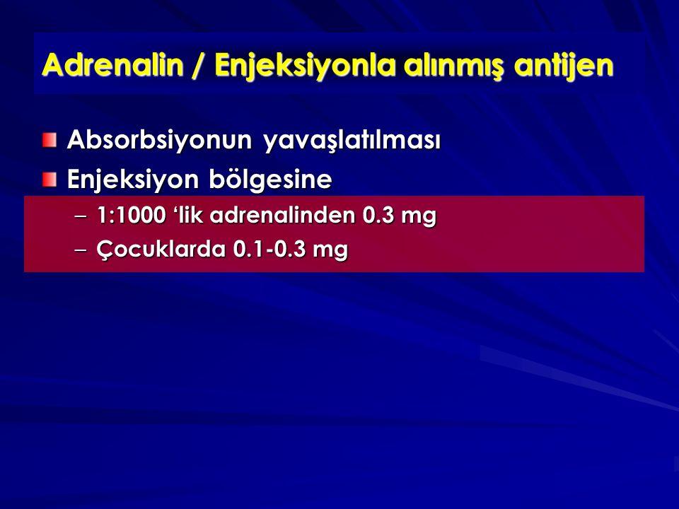Adrenalin / Enjeksiyonla alınmış antijen Absorbsiyonun yavaşlatılması Enjeksiyon bölgesine – 1:1000 'lik adrenalinden 0.3 mg – Çocuklarda 0.1-0.3 mg