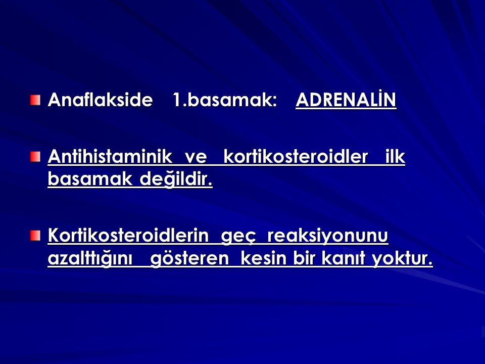 Anaflakside 1.basamak: ADRENALİN Antihistaminik ve kortikosteroidler ilk basamak değildir.