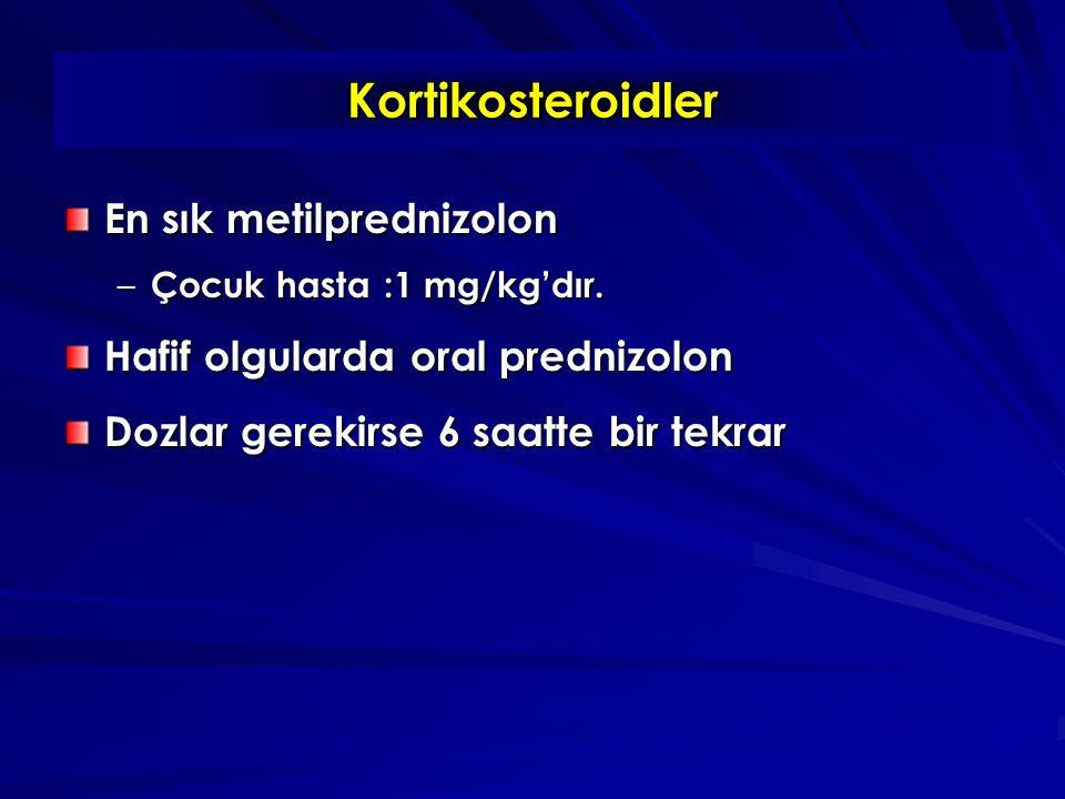 Kortikosteroidler En sık metilprednizolon – Çocuk hasta:1 mg/kg'dır.