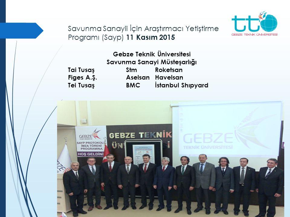 Savunma Sanayii İçin Araştırmacı Yetiştirme Programı (Sayp) 11 Kasım 2015 Gebze Teknik Üniversitesi Savunma Sanayi Müsteşarlığı Tai TusaşStmRoketsan F