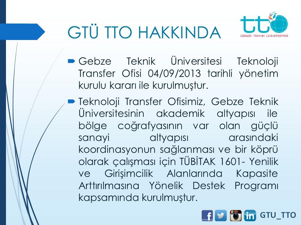 GTÜ TTO HAKKINDA  Gebze Teknik Üniversitesi Teknoloji Transfer Ofisi 04/09/2013 tarihli yönetim kurulu kararı ile kurulmuştur.  Teknoloji Transfer O