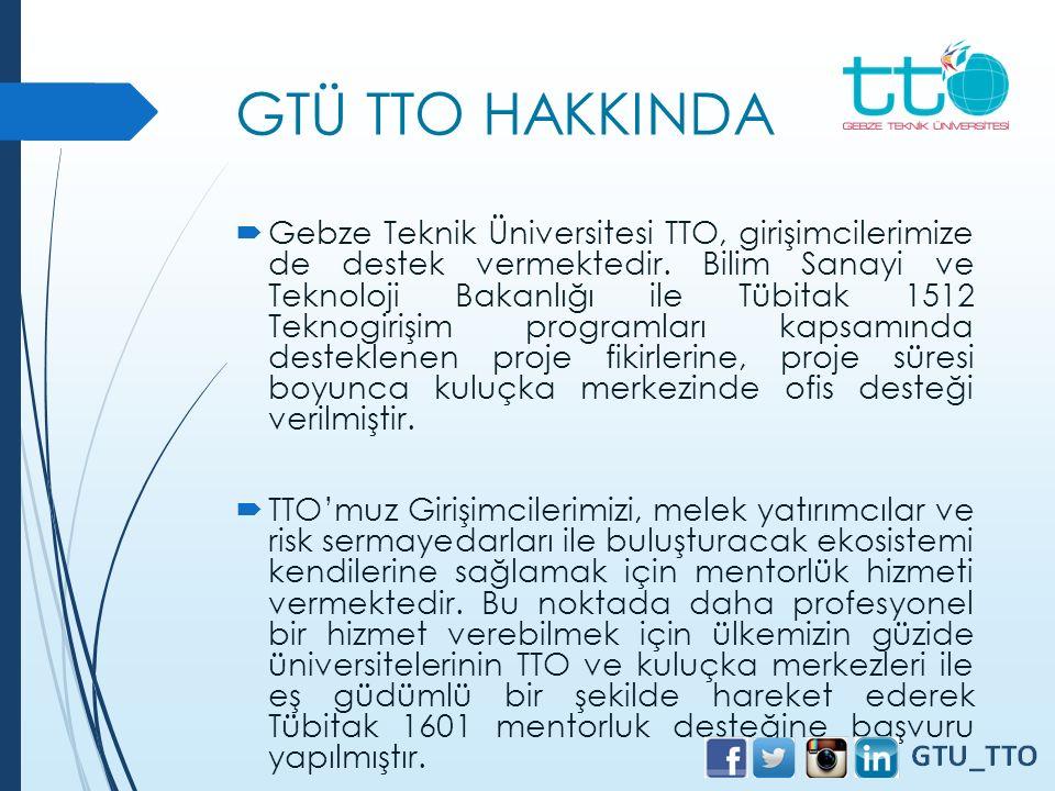 GTÜ TTO HAKKINDA  Gebze Teknik Üniversitesi TTO, girişimcilerimize de destek vermektedir. Bilim Sanayi ve Teknoloji Bakanlığı ile Tübitak 1512 Teknog