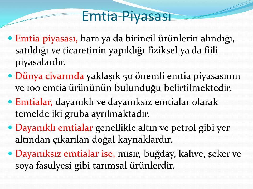 Emtia Piyasası Emtia piyasası, ham ya da birincil ürünlerin alındığı, satıldığı ve ticaretinin yapıldığı fiziksel ya da fiili piyasalardır. Dünya civa