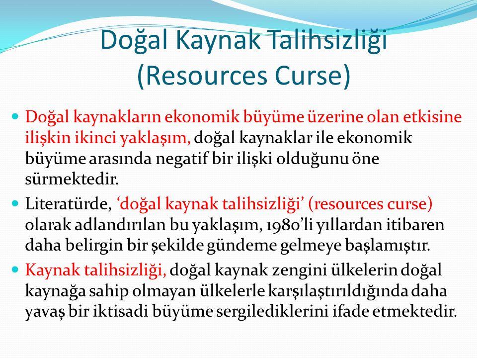 Doğal Kaynak Talihsizliği (Resources Curse) Doğal kaynakların ekonomik büyüme üzerine olan etkisine ilişkin ikinci yaklaşım, doğal kaynaklar ile ekono
