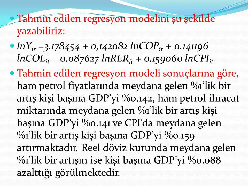 Tahmin edilen regresyon modelini şu şekilde yazabiliriz: lnY it =3.178454 + 0,142082 lnCOP it + 0.141196 lnCOE it – 0.087627 lnRER it + 0.159060 lnCPI it Tahmin edilen regresyon modeli sonuçlarına göre, ham petrol fiyatlarında meydana gelen %1'lik bir artış kişi başına GDP'yi %0.142, ham petrol ihracat miktarında meydana gelen %1'lik bir artış kişi başına GDP'yi %0.141 ve CPI'da meydana gelen %1'lik bir artış kişi başına GDP'yi %0.159 artırmaktadır.