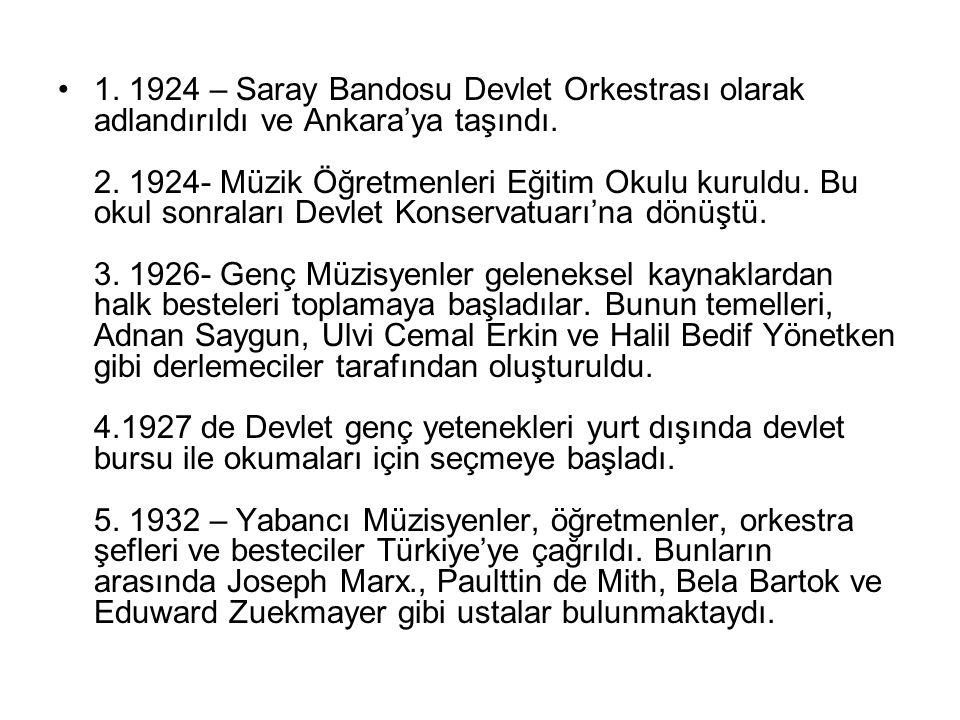 1. 1924 – Saray Bandosu Devlet Orkestrası olarak adlandırıldı ve Ankara'ya taşındı. 2. 1924- Müzik Öğretmenleri Eğitim Okulu kuruldu. Bu okul sonralar