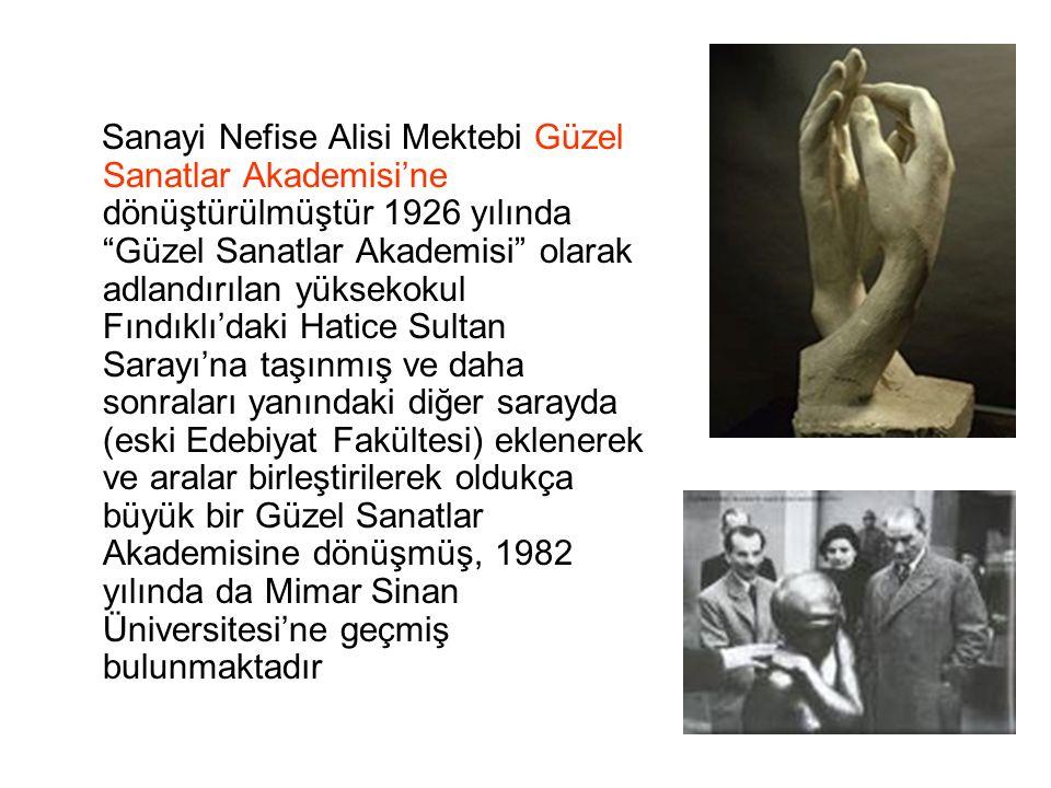 """Sanayi Nefise Alisi Mektebi Güzel Sanatlar Akademisi'ne dönüştürülmüştür 1926 yılında """"Güzel Sanatlar Akademisi"""" olarak adlandırılan yüksekokul Fındık"""