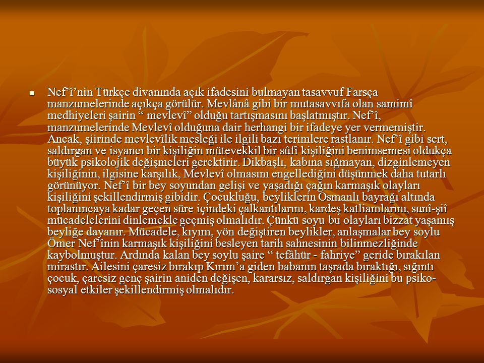 Nef'î'nin Türkçe divanında açık ifadesini bulmayan tasavvuf Farsça manzumelerinde açıkça görülür. Mevlânâ gibi bir mutasavvıfa olan samimî medhiyeleri