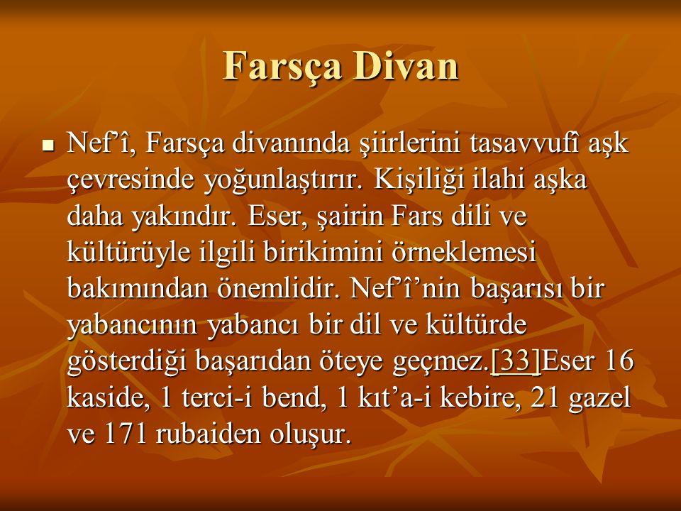 Farsça Divan Nef'î, Farsça divanında şiirlerini tasavvufî aşk çevresinde yoğunlaştırır. Kişiliği ilahi aşka daha yakındır. Eser, şairin Fars dili ve k