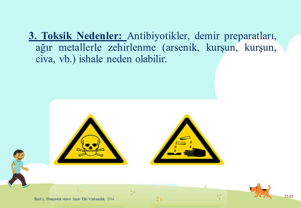 3. Toksik Nedenler: Antibiyotikler, demir preparatları, ağır metallerle zehirlenme (arsenik, kurşun, kurşun, civa, vb.) ishale neden olabilir. 23/63 B