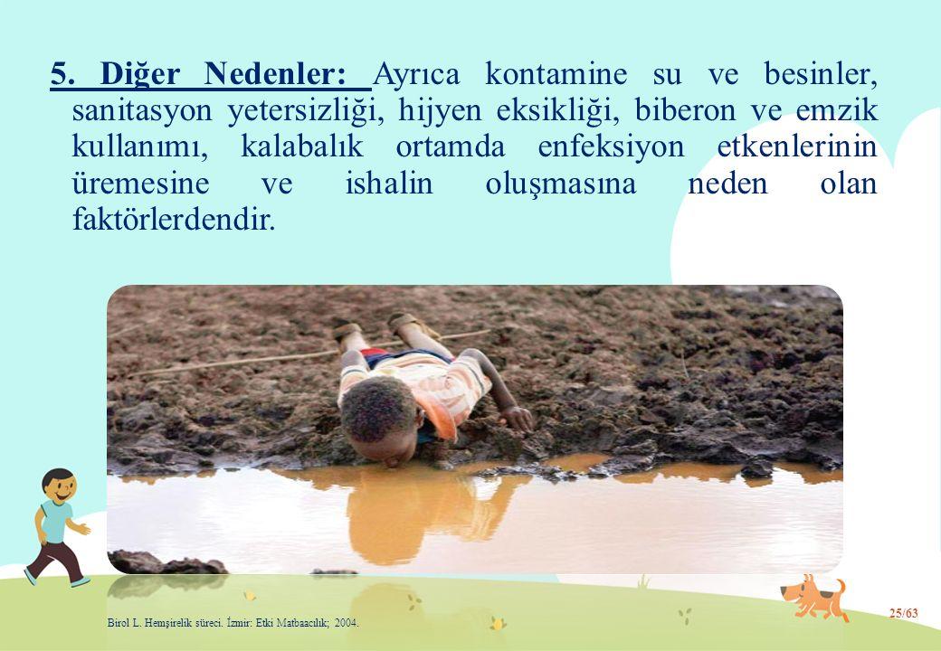 5. Diğer Nedenler: Ayrıca kontamine su ve besinler, sanitasyon yetersizliği, hijyen eksikliği, biberon ve emzik kullanımı, kalabalık ortamda enfeksiyo