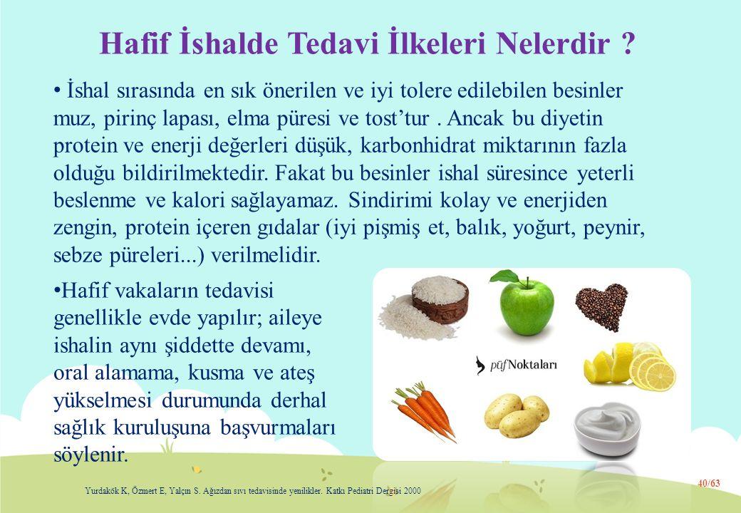 Hafif İshalde Tedavi İlkeleri Nelerdir ? İshal sırasında en sık önerilen ve iyi tolere edilebilen besinler muz, pirinç lapası, elma püresi ve tost'tur