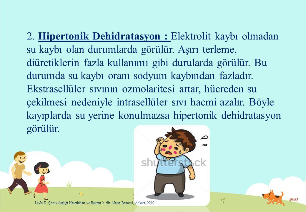 2.Hipertonik Dehidratasyon : Elektrolit kaybı olmadan su kaybı olan durumlarda görülür.
