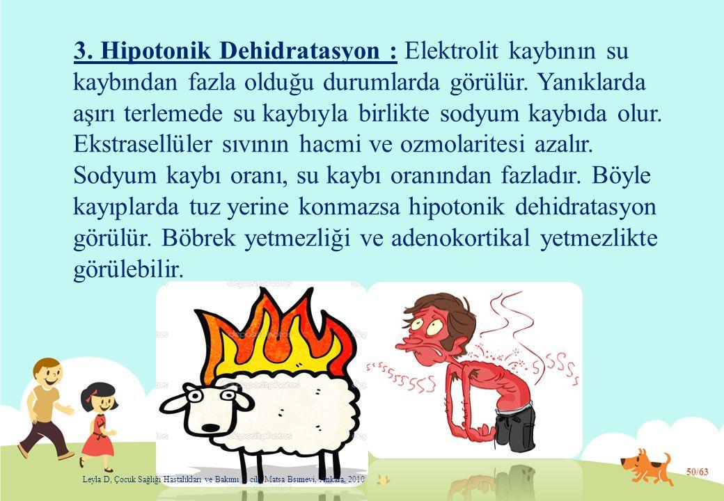 3. Hipotonik Dehidratasyon : Elektrolit kaybının su kaybından fazla olduğu durumlarda görülür. Yanıklarda aşırı terlemede su kaybıyla birlikte sodyum