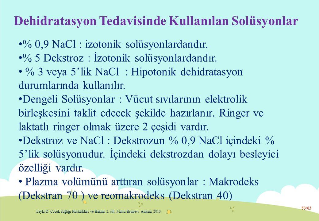 Dehidratasyon Tedavisinde Kullanılan Solüsyonlar % 0,9 NaCl : izotonik solüsyonlardandır. % 5 Dekstroz : İzotonik solüsyonlardandır. % 3 veya 5'lik Na