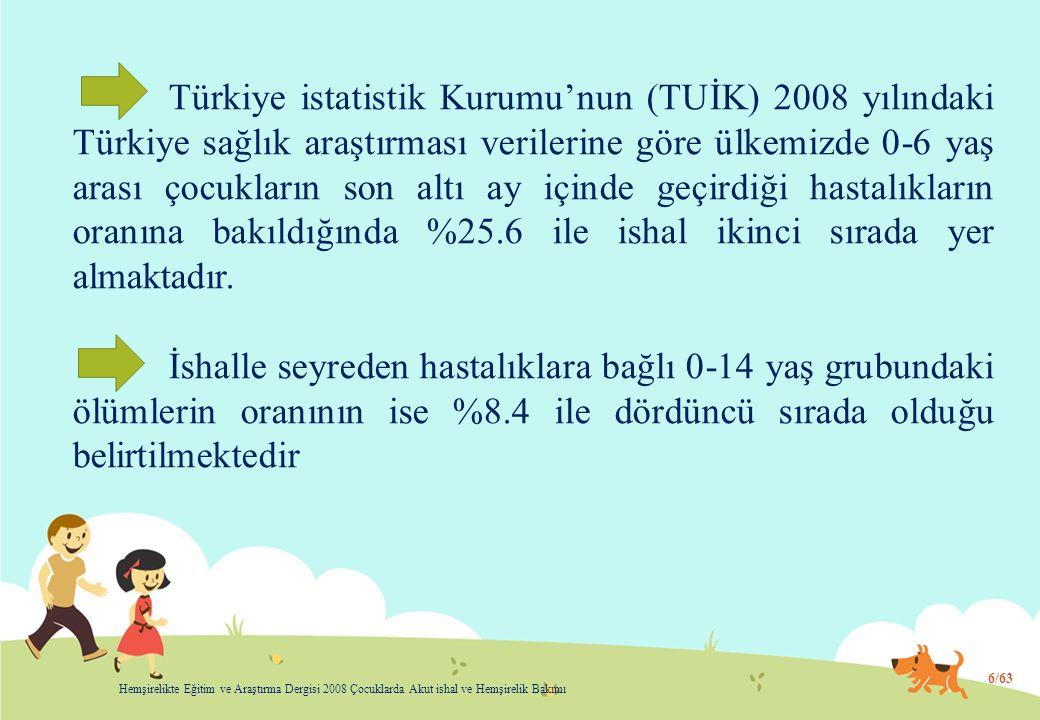 Türkiye istatistik Kurumu'nun (TUİK) 2008 yılındaki Türkiye sağlık araştırması verilerine göre ülkemizde 0-6 yaş arası çocukların son altı ay içinde geçirdiği hastalıkların oranına bakıldığında %25.6 ile ishal ikinci sırada yer almaktadır.