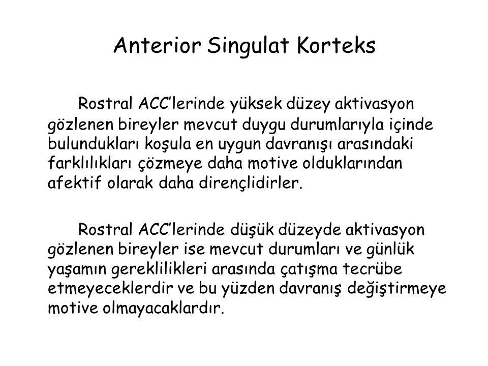 Anterior Singulat Korteks Rostral ACC'lerinde yüksek düzey aktivasyon gözlenen bireyler mevcut duygu durumlarıyla içinde bulundukları koşula en uygun davranışı arasındaki farklılıkları çözmeye daha motive olduklarından afektif olarak daha dirençlidirler.