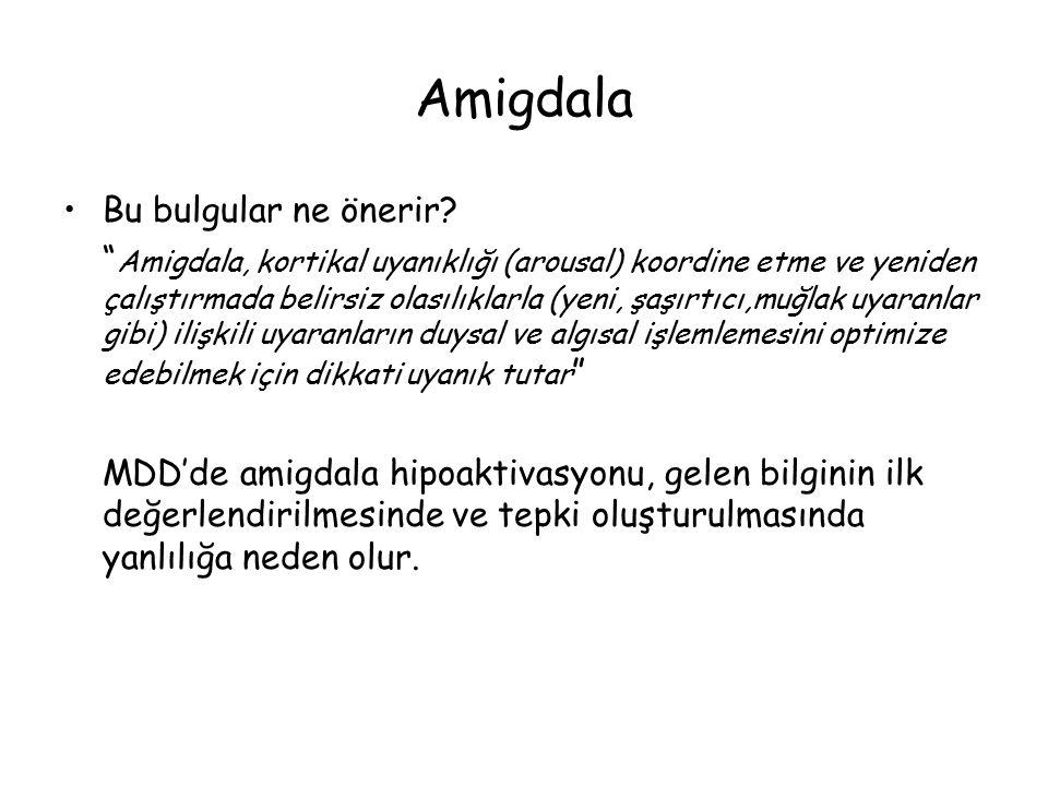 Amigdala Bu bulgular ne önerir.