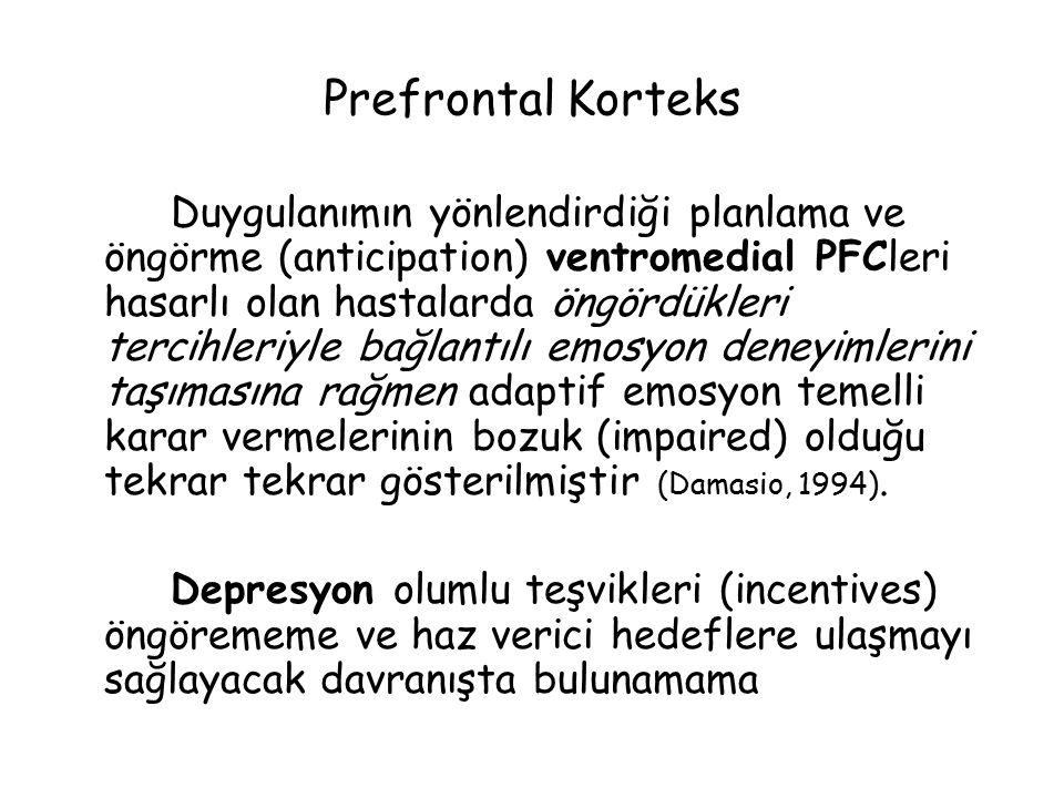Prefrontal Korteks Duygulanımın yönlendirdiği planlama ve öngörme (anticipation) ventromedial PFCleri hasarlı olan hastalarda öngördükleri tercihleriyle bağlantılı emosyon deneyimlerini taşımasına rağmen adaptif emosyon temelli karar vermelerinin bozuk (impaired) olduğu tekrar tekrar gösterilmiştir (Damasio, 1994).