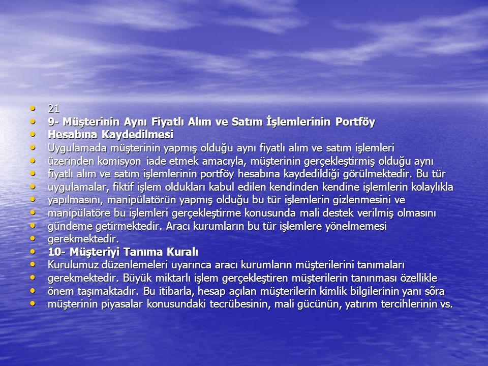21 21 9- Müşterinin Aynı Fiyatlı Alım ve Satım İşlemlerinin Portföy 9- Müşterinin Aynı Fiyatlı Alım ve Satım İşlemlerinin Portföy Hesabına Kaydedilmes